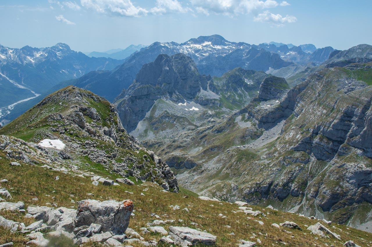 View to the West, Jezerca massif at the top center, to its left Valbona pass