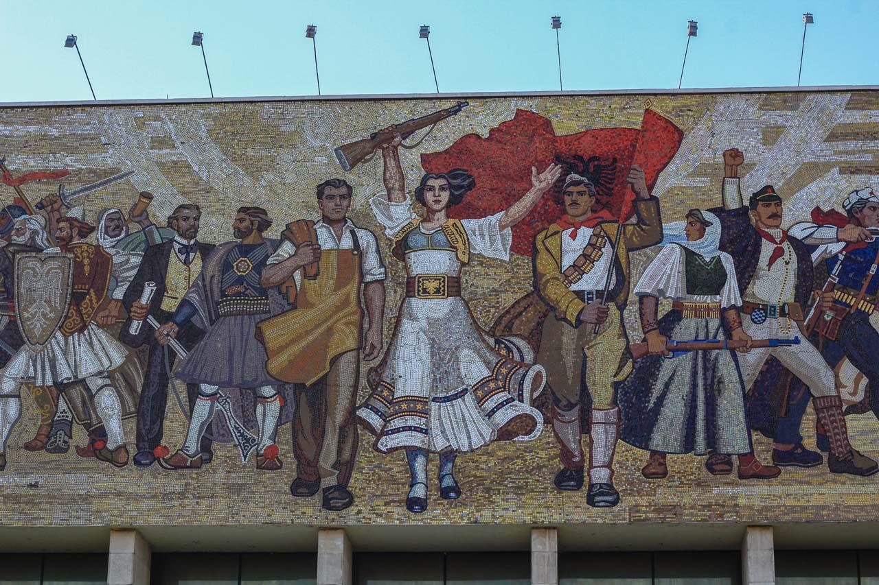 Mosaic decorating the National History Museum, Tirana