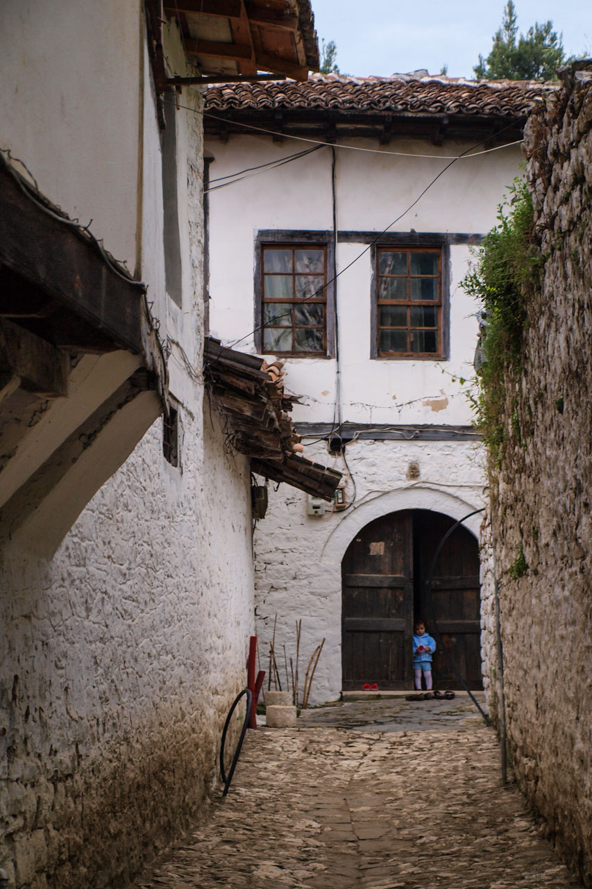 Small cobble stone alleys between old Ottoman style houses
