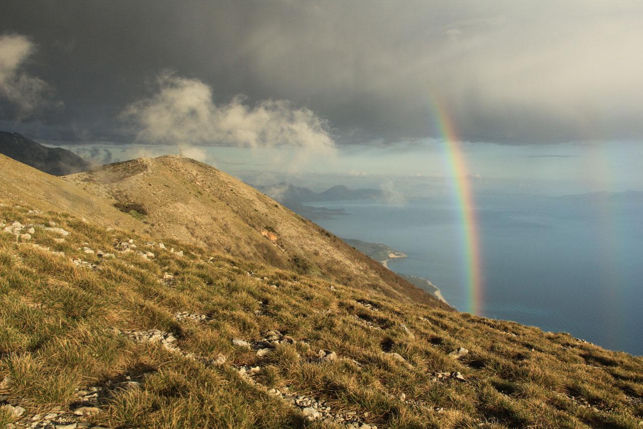 Rainbow over Llogara Pass.