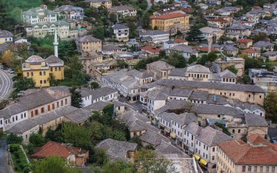 The Neck of the Bazaar, center of Gjirokaster's Pazari i vjeter neighbourhood, viewed from the castle