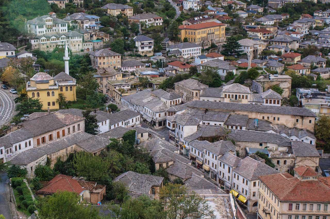 The Neck of the Bazaar, center of Gjirokaster's Pazari i vjeter neighbourhood, viewed from the castle