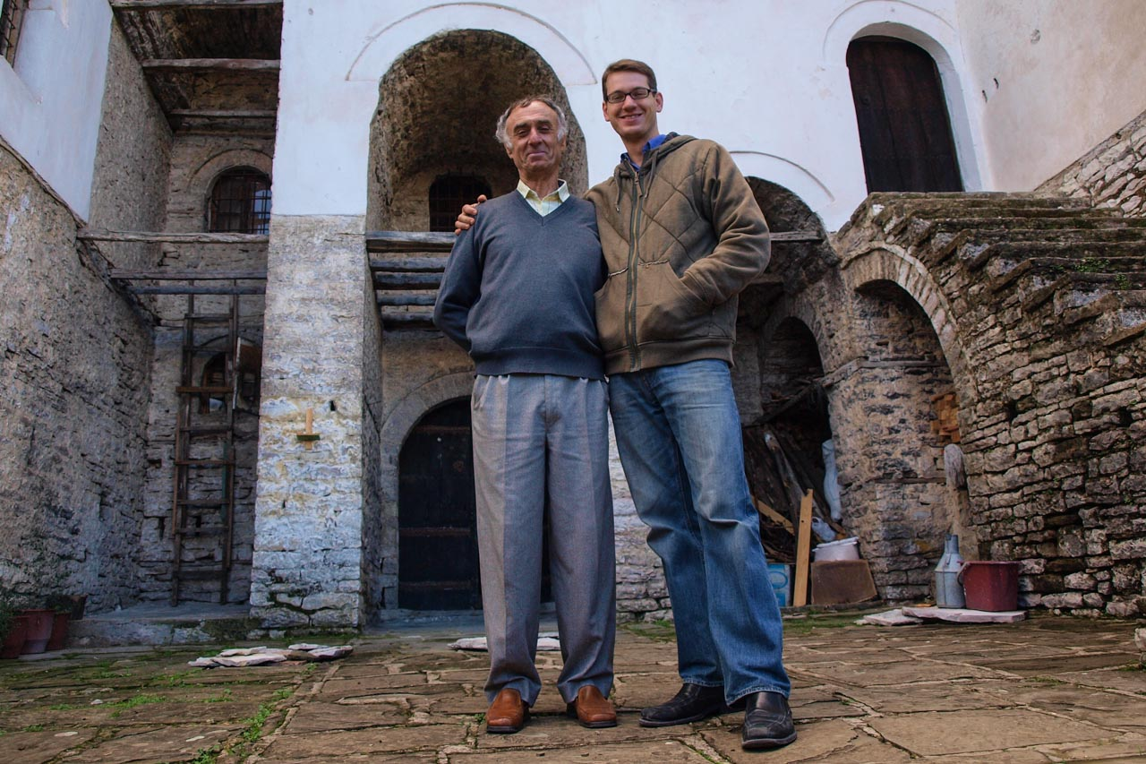 Our local expert guide and friend Chris (right) with the owner of the house