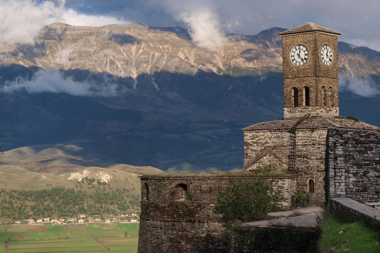 Clock tower up on the castle, Gjirokaster