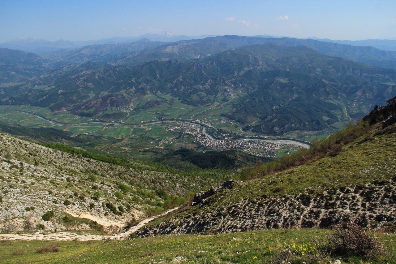 Looking down on Permet on the Eastern side of Nemercka range